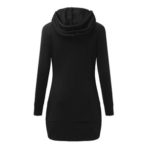 Women Casual Straight Short Dress Long Sleeve Hooded Pockets Autumn Mini Fashion Red Black Party Dresses