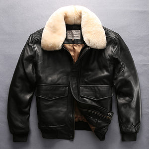 men's high quality fur collar thick warm leather jacket genuine sheep leather jacket