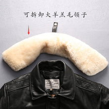 Load image into Gallery viewer, men's high quality fur collar thick warm leather jacket genuine sheep leather jacket