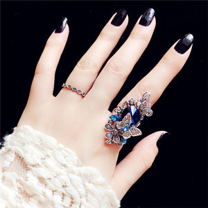 2pcs/set European Index Female Court Vintage Big Gem Crystal Butterfly Rings for Women Luxury Jewelry