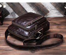 Load image into Gallery viewer, Genuine leather shoulder bag for men summer vintage Crossbody bag Zipper male Business Messenger bags for 9.7in ipad