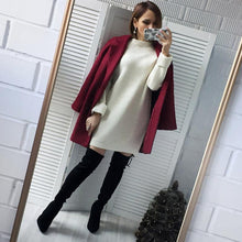 Load image into Gallery viewer, Autumn Winter Solid Knitted Cotton Sweater Dresses Women Loose O-neck Pullover Knitted Dress