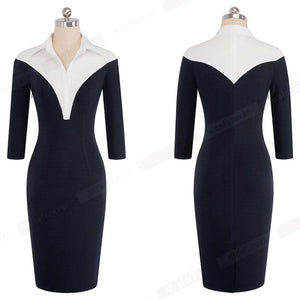 Formal One-piece Work Business Office Lady Dress Casual Colorblock Turn-down Collar Women Sheath Slim Bodycon Pencil Dress