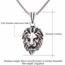 Load image into Gallery viewer, Black Lion Charms Necklace Rock Punk Style Men/Women Retro Jewelry Gold Color Stainless Steel Chain Necklace & Pendant