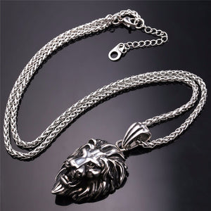 Black Lion Charms Necklace Rock Punk Style Men/Women Retro Jewelry Gold Color Stainless Steel Chain Necklace & Pendant