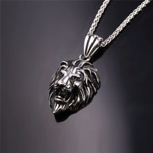 Load image into Gallery viewer, Black Lion Charms Necklace Rock Punk Style Men/Women Retro Jewelry Gold Color Stainless Steel Chain Necklace & Pendan