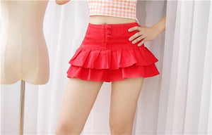 Fashion Women Solid Color Shorts Skirts White Young Girl Bottoms Ruffles hem Sweet Mid waist Sexy Mini Skirt - moonaro