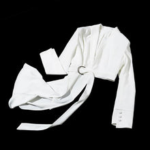 Load image into Gallery viewer, Women OL White Blazer V Neck Long Sleeve With Sashes Asymmetrical Coat Fashion Blazer