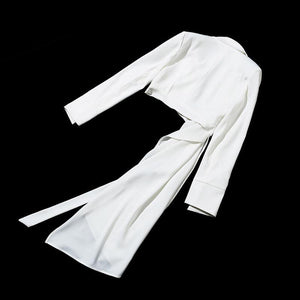 Women OL White Blazer V Neck Long Sleeve With Sashes Asymmetrical Coat Fashion Blazer