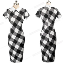 Load image into Gallery viewer, Women Autumn Turn-down Collar Fit Work Dress Business office Pencil bodycon Midi Dress