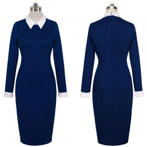 Women Autumn Turn-down Collar Fit Work Dress Business office Pencil bodycon Midi Dress