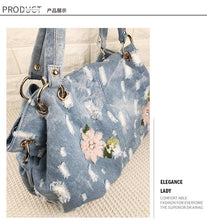 Load image into Gallery viewer, Denim  Women Bag Luxury Messenger Bags Embroidery Flower Handbags High Quality totes