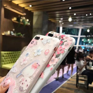 iPhone 6 S 6S Plus 6Plus iPhone 7 8 7Plus 8Plus X XS Max XR 5 5S SE Beauty Girly Flower Soft Silicone Back Cover