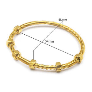 Screw and nut nail & Crystal Cuff Bangle Bracelet Set Stainless Steel Cuff Open Bracelet Bangle Woman