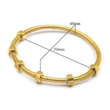 Load image into Gallery viewer, Screw and nut nail & Crystal Cuff Bangle Bracelet Set Stainless Steel Cuff Open Bracelet Bangle Woman