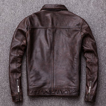 Load image into Gallery viewer, Vintage Leather Jacket Men 100% Cowhide Red Brown Black Natural Leather Jackets Men's Leather Coat Autumn