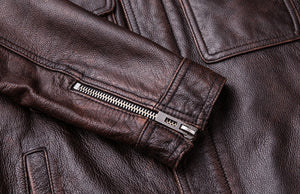 Vintage Leather Jacket Men 100% Cowhide Red Brown Black Natural Leather Jackets Men's Leather Coat Autumn