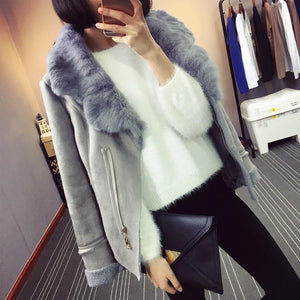 Winter Faux Sheepskin Leather Jacket Women Suede Jacket Lambs Wool Locomotive Real Rabbit Fur Collar Long Sleeve Warm Slim Coat