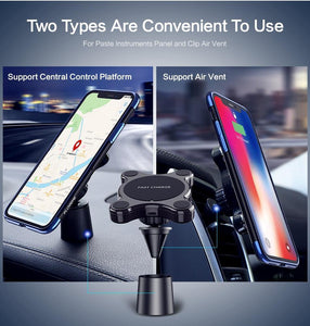 Car Qi Wireless Charger For iPhone X XS MAX Fast Charger Magnetic Car Phone Holder For Samsung Galaxy S9 S8 Plus Note 9