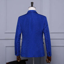 Load image into Gallery viewer, Men Royal Blue White Red Jacquard Stage Costumes Singer Wedding Slim Fit Jacket Men Blazer