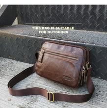 Load image into Gallery viewer, genuine leather men messenger bag for ipad male shoulder bags for credit card luxury brand man's bags with coin pocket