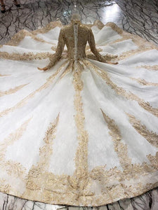 luxury wedding dresses woman high neck long sleeve lace up floor length princess bridal dresses golden mariage