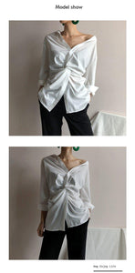 Women Shirt Woman Fashion V-neck Exposed Clavicle White Casual Loose Woman Shirts Tops Streetwear