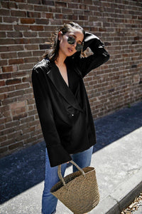 Women Black Satin Loose Shirt Women's Streetwear Fashion Blouse Ladies's Clothing High Quality