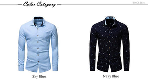 New Fashion Feather Printed Shirt Men Long Sleeve Casual Dress Shirt Men's Business Social Shirts High Quality - moonaro