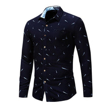 Load image into Gallery viewer, New Fashion Feather Printed Shirt Men Long Sleeve Casual Dress Shirt Men's Business Social Shirts High Quality - moonaro