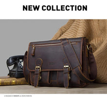 Load image into Gallery viewer, Genuine Crazy Horse Cowhide Leather Men Messenger Bag For Laptop Male Vintage Tote Shoulder Crossbody Bags Handbag