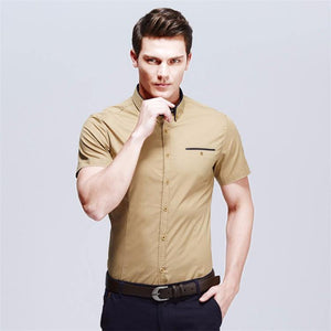 Men's Casual Shirt Summer New Brand Solid Short Sleeve Fit Slim Male Shirt Cotton Thin Camisas Social Masculina