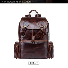 "Load image into Gallery viewer, crazy horse leather men backpack for 13.3"" laptop Portable vintage travel bags with Drawstring port backbag"