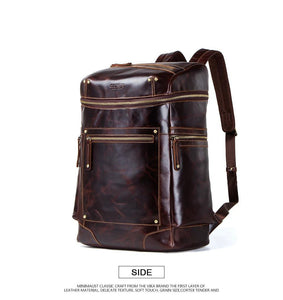 crazy horse genuine leather men's backpack waterproof laptop bag for men vintage bagpack big capacity backpacks male travel bags