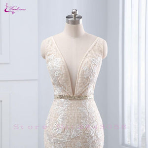 Sexy Deep V-Neck Mermaid Wedding Dresses Beading Crystals Sashes Backless Tiered Ruffles Unique Lace Gowns