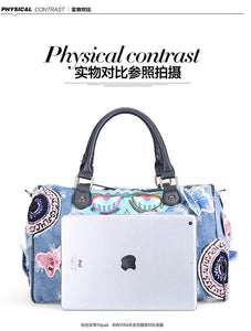 Women Luggage Travel Bags Cute Cartoon Denim Bags Handbags Fashion Shoulder Bag