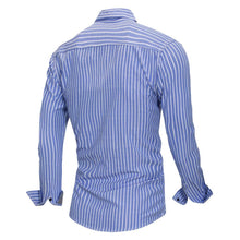 Load image into Gallery viewer, Summer Fashion Striped Shirt Men Casual Long Sleeved Social Business Dress Shirt Male Cotton Clothes