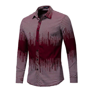 New Fashion Printed Shirt Men Long Sleeve Geometric Shirts Men Casual Dress Shirt Men's Brand Clothes