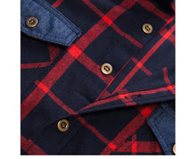 Load image into Gallery viewer, Autumn Double Button Down Pockets Plaid Shirt Long Sleeve Casual Patch Shirts Male Regular Fit