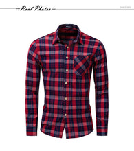 Load image into Gallery viewer, New Fashion Plaid Shirt Men Casual Long Sleeve Slim Fit Shirts With Pocket 100% Cotton High Quality