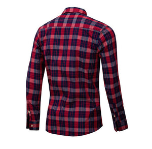 New Fashion Plaid Shirt Men Casual Long Sleeve Slim Fit Shirts With Pocket 100% Cotton High Quality