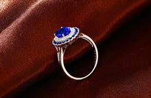 Load image into Gallery viewer, 6x8mm Oval Cut 1.15ct Natural Tanzanite & Diamonds 14K White Gold Classic Milgrain Ring