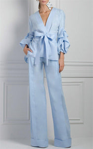 Sleeve Type Blouse and Loose Long Broad Leg Pants Women Clothing Two Piece Set Satin work wear