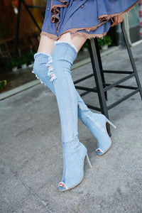 Fashion Women Hole Denim High Heels Over The Knee Boots Spring Summer Sexy Peep Toe Thigh High Boots