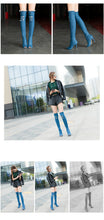 Load image into Gallery viewer, Fashion Women Hole Denim High Heels Over The Knee Boots Spring Summer Sexy Peep Toe Thigh High Boots