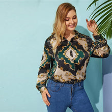 Load image into Gallery viewer, Green V-neck Mixed Print Floral Long Sleeve Top Women Spring Minimalist Elegant Blouses