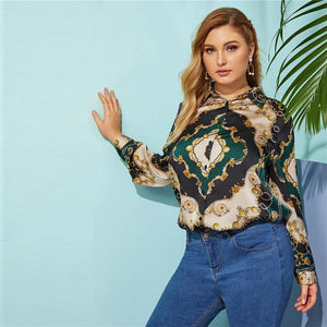 Green V-neck Mixed Print Floral Long Sleeve Top Women Spring Minimalist Elegant Blouses