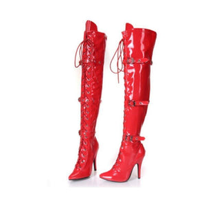 sexy boot over-the-knee boots buckle lacing 12cm heels boots women's dance boot