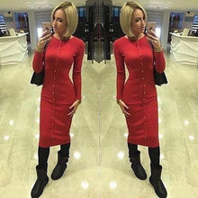 Load image into Gallery viewer, Long Sleeve Midi Women Dresses Party Autumn Winter Bodycon Dress Knit Casual Solid Buttons Office Dress