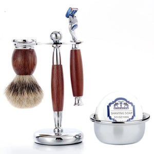 Shaving Safety Razor Gift Kit Cartridge 5 layers Blade Shaver Badger Hair Shaving Brush Cream Soap Bowl Set